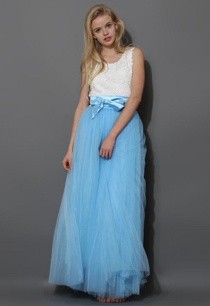 Prom Amore langer Tüllrock in Blau