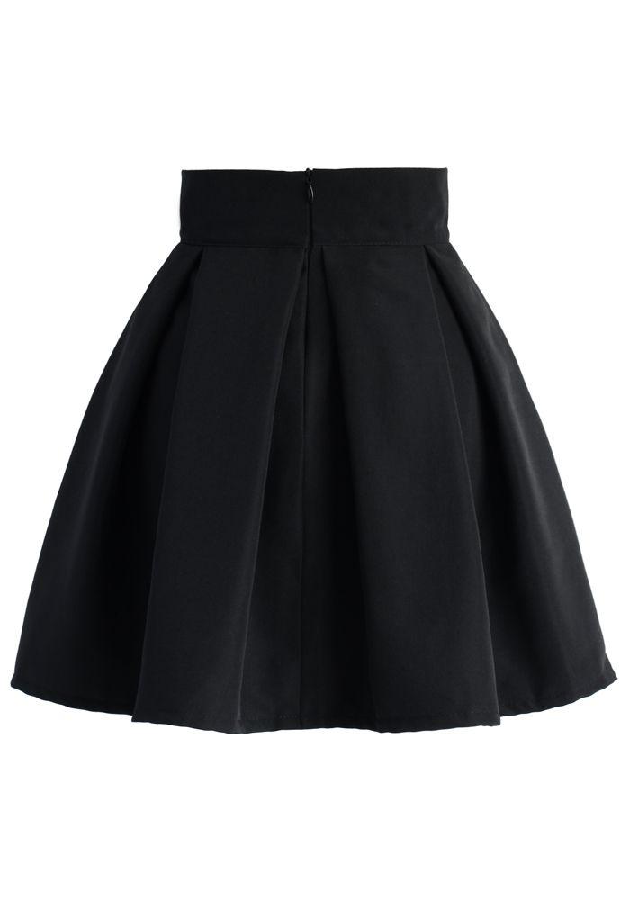 Schatz dein Herz- schwarzer Faltenrock mit Schleife