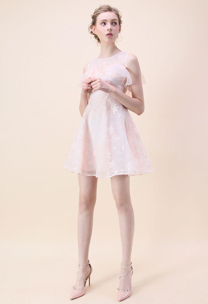 Sea Fresh - Organza-Kleid mit kalter Schulter