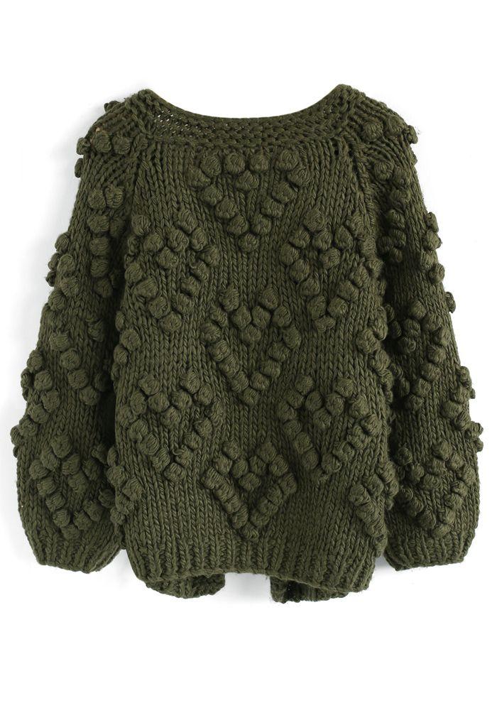 Knit Your Love - Strickjacke und Armee-Grün