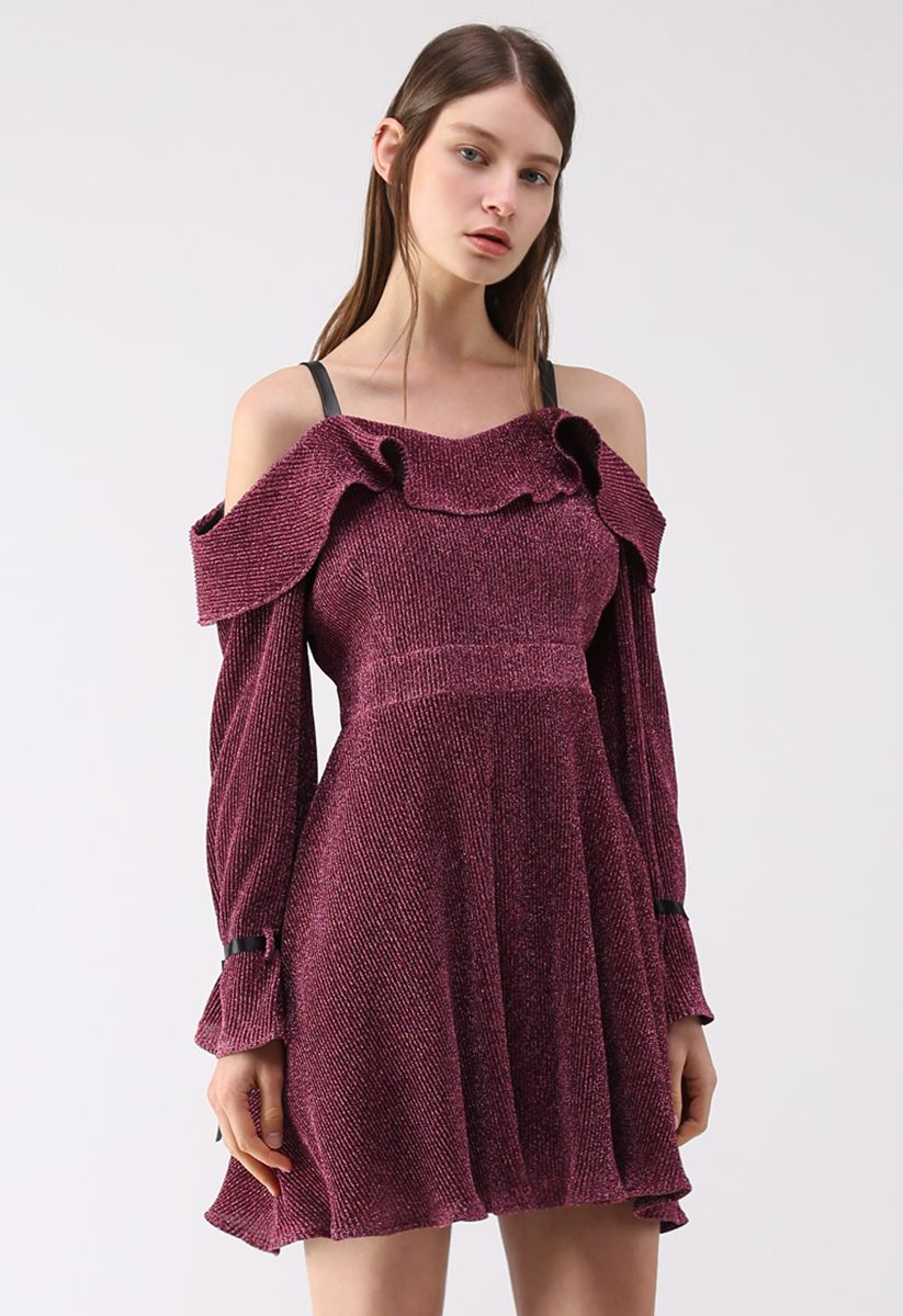 Glitzernde Nacht - Kleid mit kalten Schultern in Lila