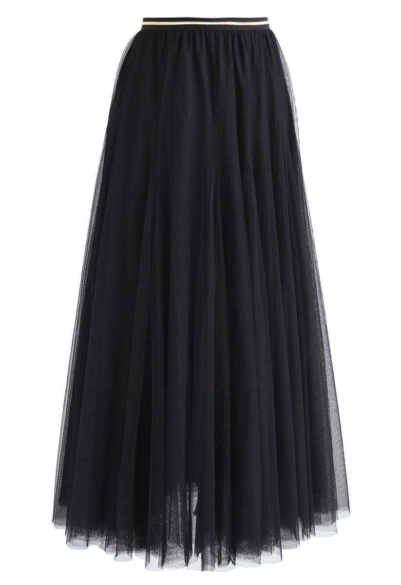 Meine Geheimwaffe: langer schwarzer Tüllrock