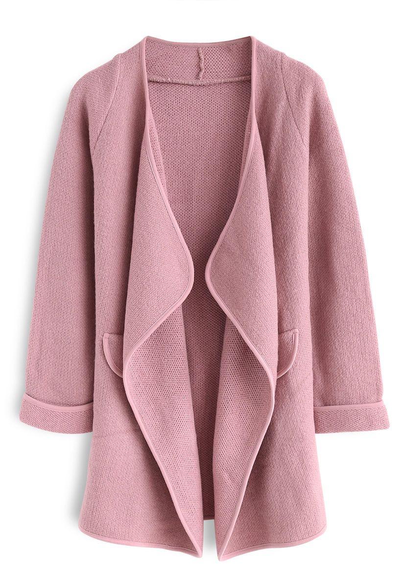 Einfach gestrickt - Claret offener Mantel in Pink