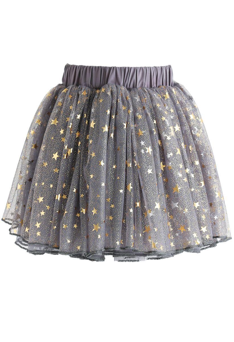 Twinkle Star Mesh Tüllrock in Grau für Kinder