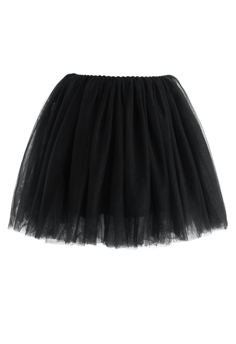 Amore Mesh Tüllrock in Schwarz für Kinder