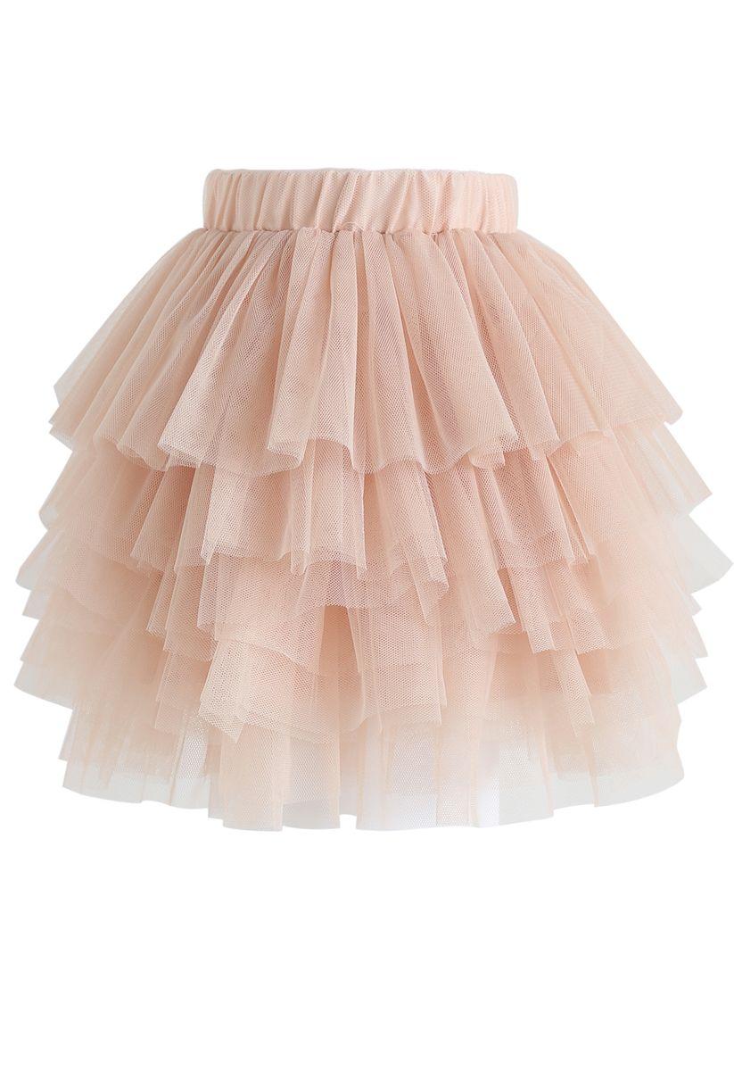 Liebe mich mehr Layered Tüllrock in Nude Pink für Kinder