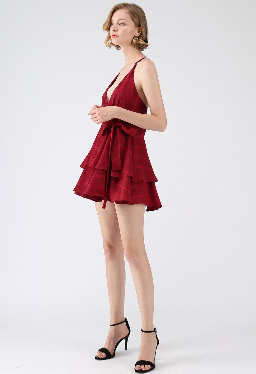 Wagen Sie es, Cami Minikleid in rot mit Kreuz zurück zu träumen