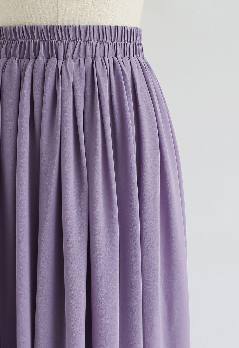 Langer Faltenrock in Violett