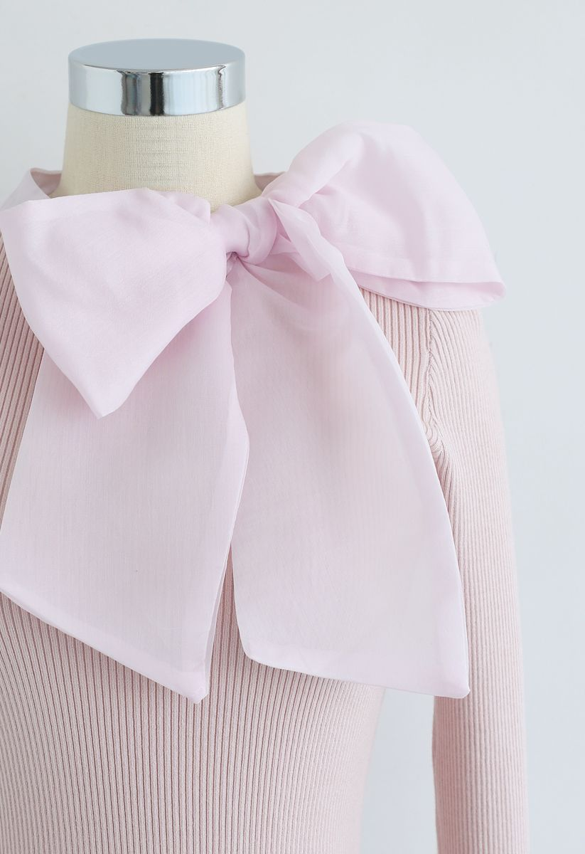 Fantasievoll mit Schleife – Stricktop in Pink