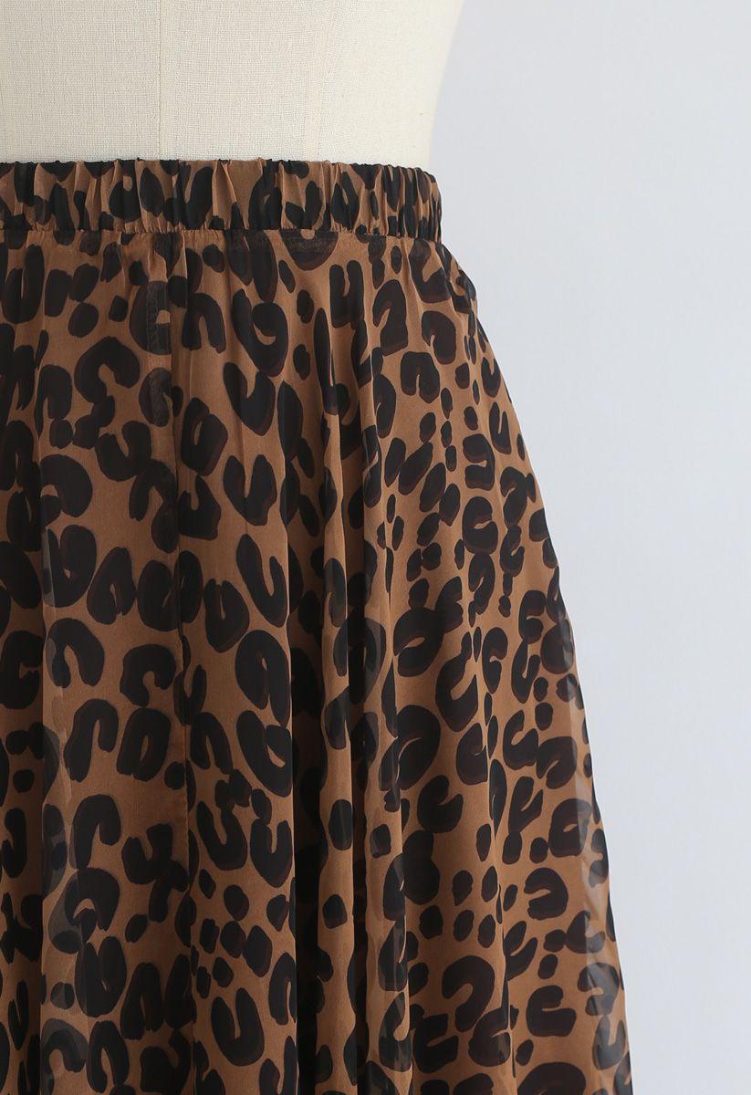 Aquarell Leopard - Maxirock in Braun