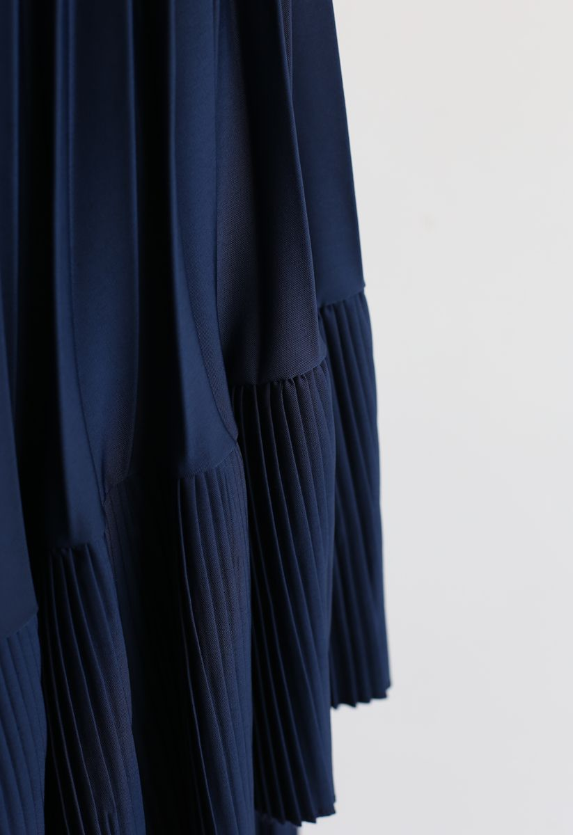 Here with You Asymmetric Pleated Skirt in Navy