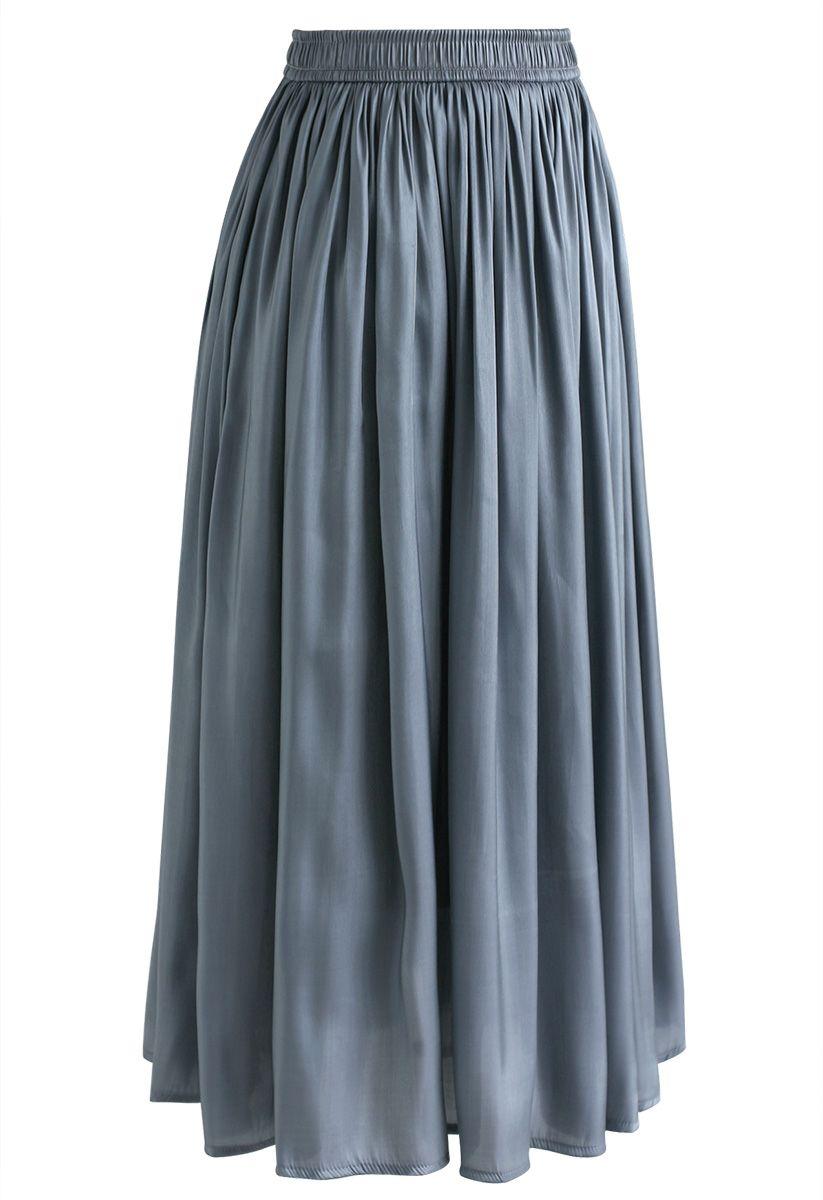 Sleek Beauties Plissee-Midirock in Dusty Blue