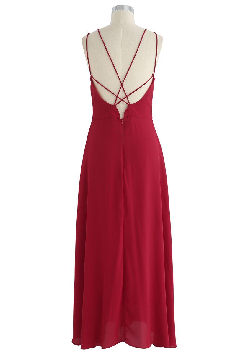 Wunderschöne Bewegung Kreuz zurück Maxi-Kleid in rot