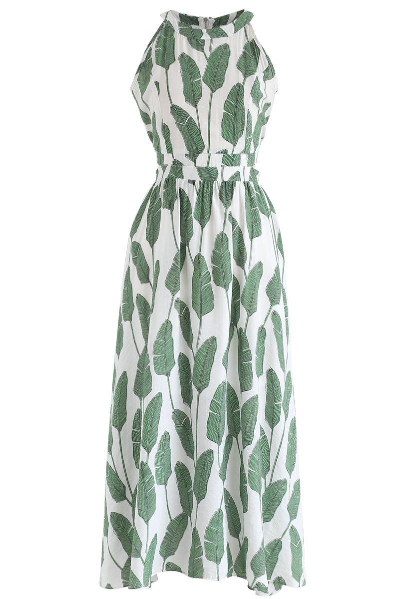 Sommerpalme – Grünes Maxikleid mit Nackenband und Blattmuster