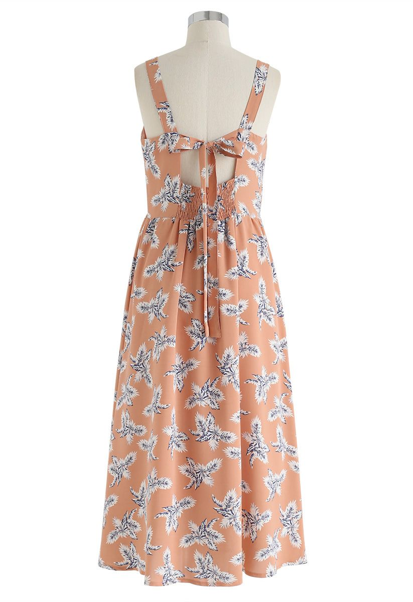 Palm Relaxed Cutout Back Cami Kleid aus Pfirsich