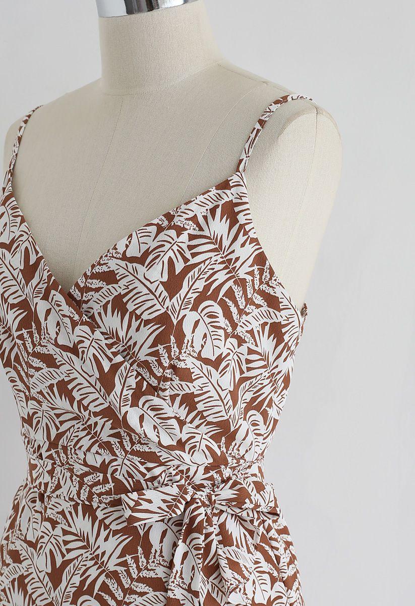 Palm Breeze - Wickelkleid mit Rüschen in Braun