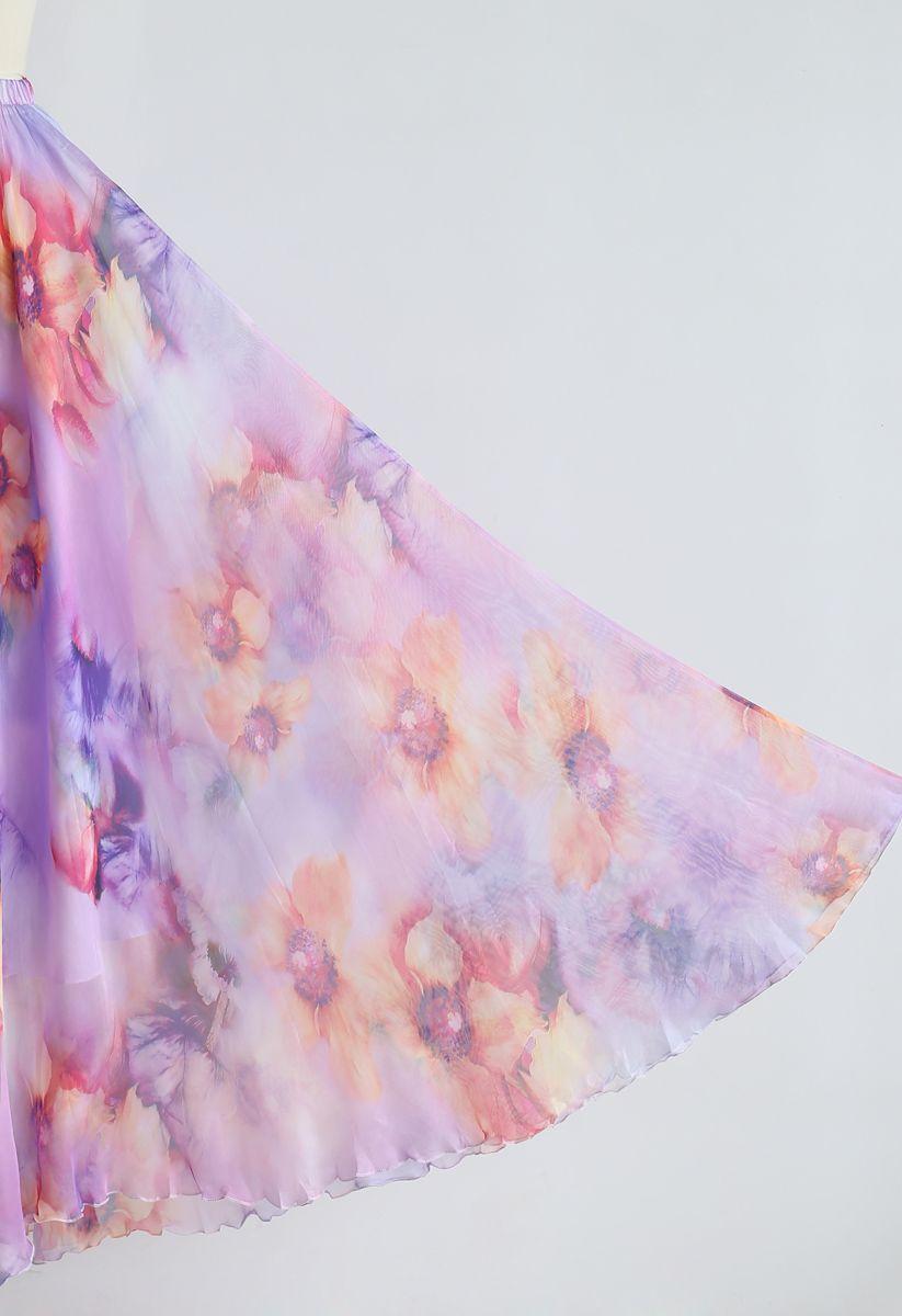 Blühender Blumen-Aquarell-Maxirock in der Flieder