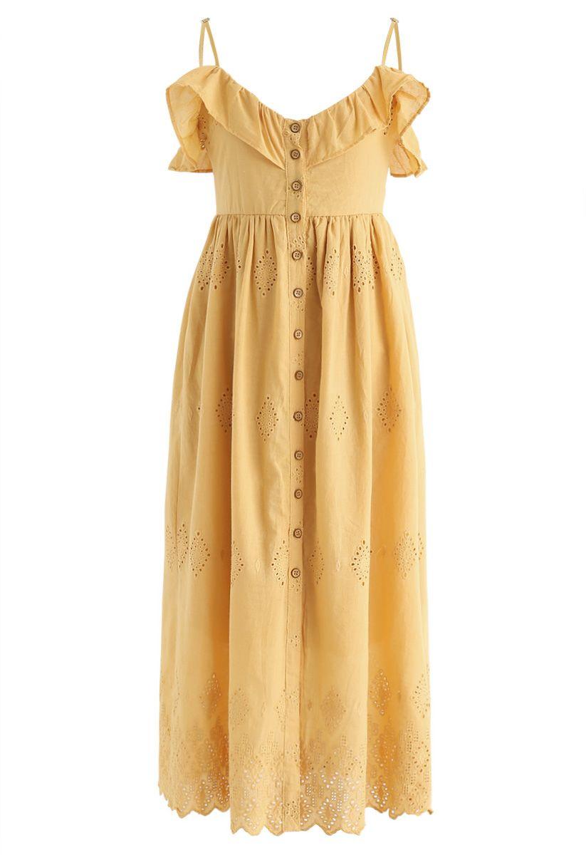 Schöner Tag bestickte Cami Kleid in Senf