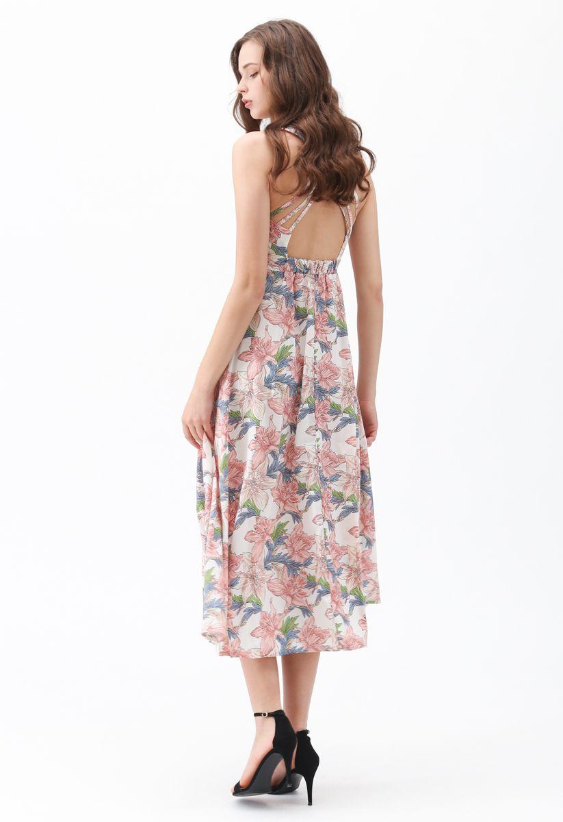 Perfect Sunday Lily - Bedrucktes Cami-Kleid mit gekreuzter Rückseite