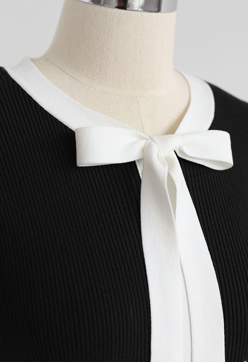Nehmen Sie eine Fahrt mit mir Bowknot Strickkleid in Schwarz