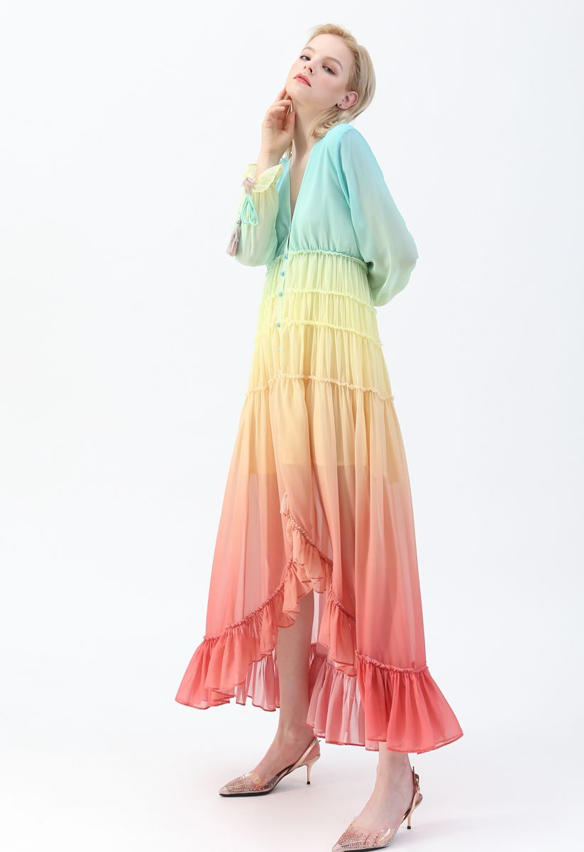 Vacay Paradise - Maxikleid mit V-Ausschnitt und Farbverlauf