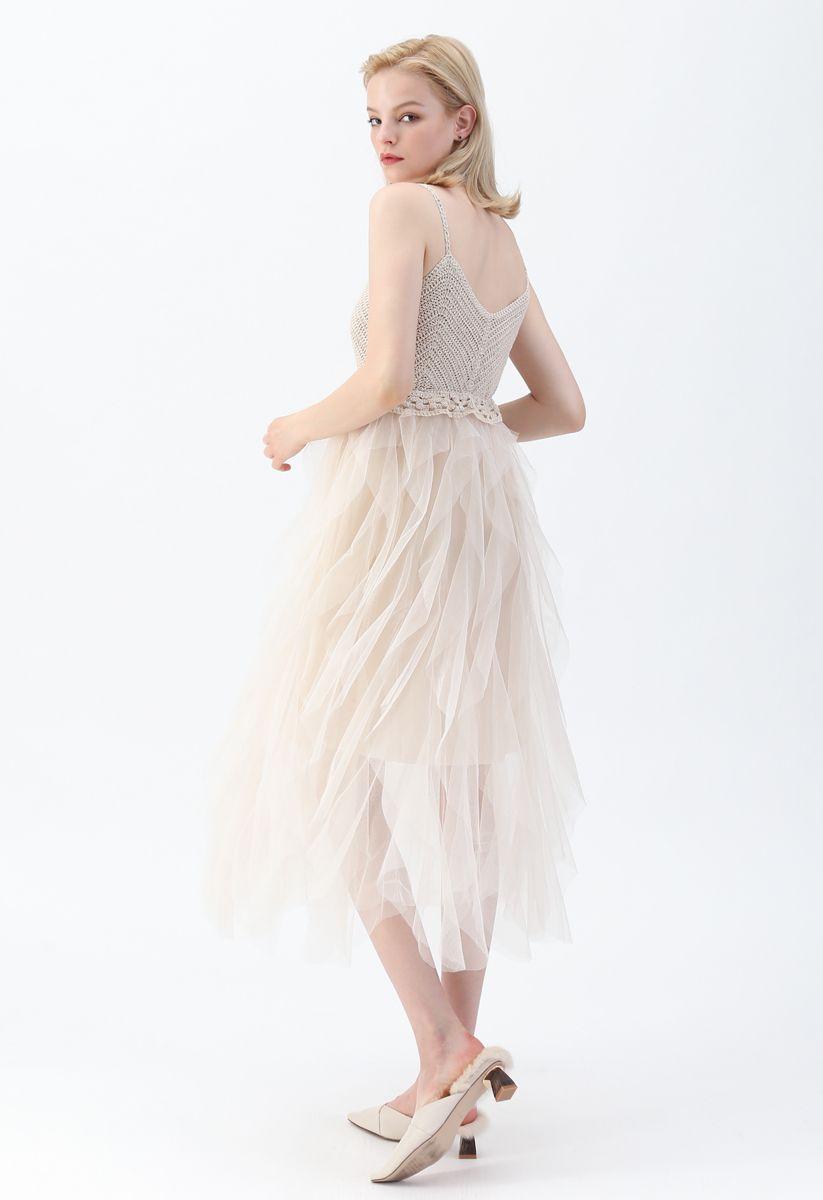 Gestricktes, gekräuseltes Netz-Camisole-Kleid in Creme