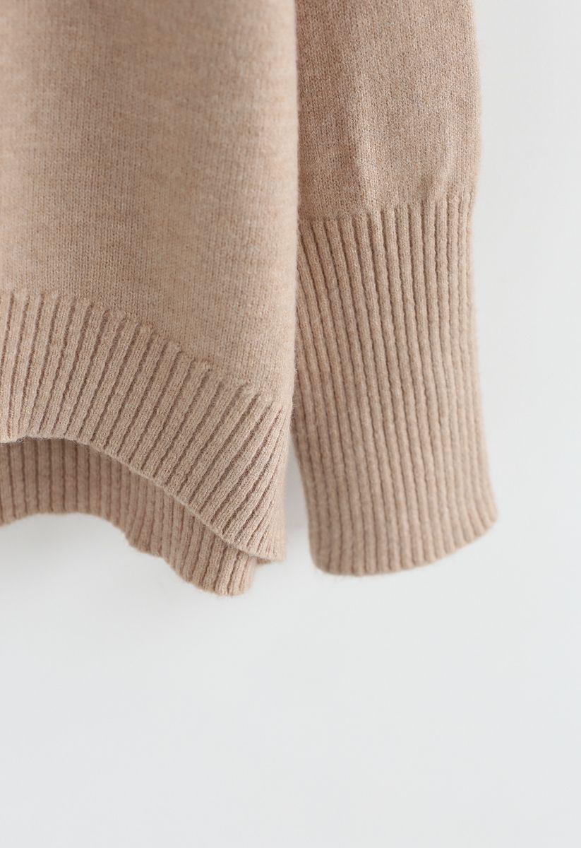 Soft Touch Basic Strickpullover mit Wasserfallausschnitt in Hellbraun