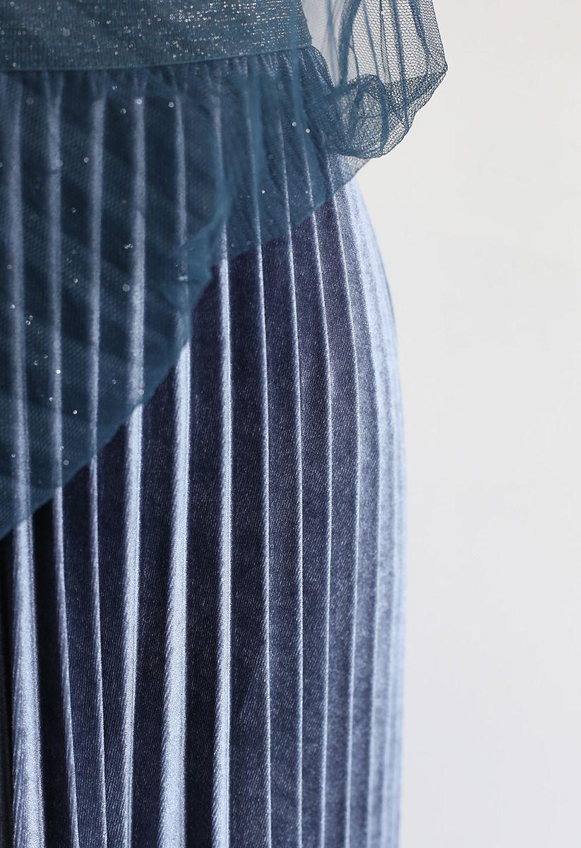 Schimmer Gradient Mesh Tüll Faltenrock in Blau