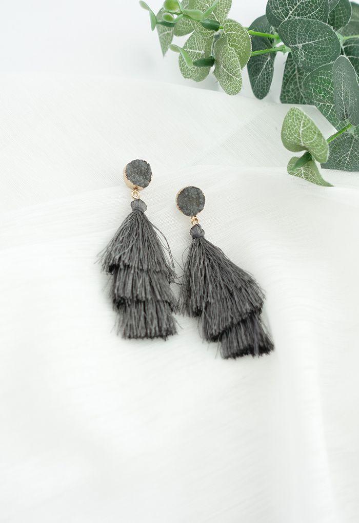 Tiered Tassels Gem Drop Earrings