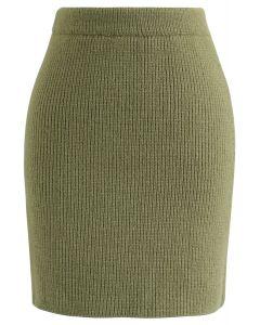 Flauschiger Textur-Strickrock in Armeegrün