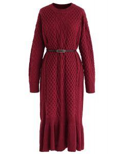 Braid Texture Belted Rüschensaum Strickkleid in Rot