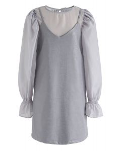Semi-Sheer Puff Sleeves Top und Kunstleder Cami Kleid Set in Grau