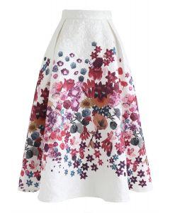 Geprägter Midirock mit pinkem Blumendruck