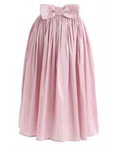 Bowknot Waist Plissee Midirock in Pink