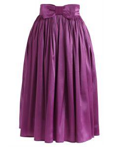 Bowknot Waist Plissee Midirock in Violett
