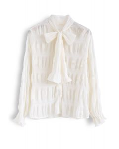 Shirred Bowknot Neck Sleeves Shirt in Creme