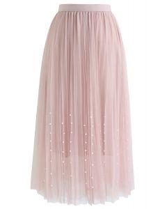 Perlenbesatz Mesh Tulle Faltenrock in Pink