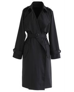 Open Front Pockets Belted Coat in Schwarz
