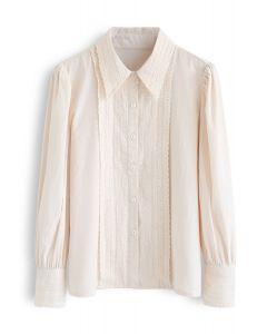 Button Down Crochet Trim Shirt in Creme