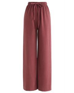 Kordelzug-Hose mit weitem Bein in Rot