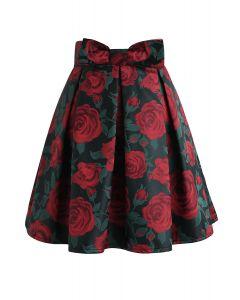 Roter Rosendruck Bowknot Plissee Minirock