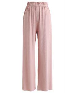 Hoch taillierte Rippenhose in Pink
