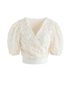 3D Roses Wrapped Crop Top in Creme