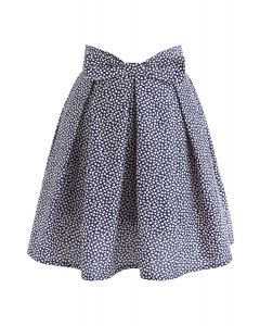Mini Heart Print Bowknot Pleated Skirt in Navy