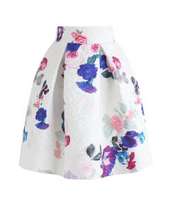 Baroque Rose Jacquard Pleated Skirt
