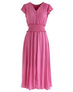 Shirred Button Down Rüschenkleid in Pink
