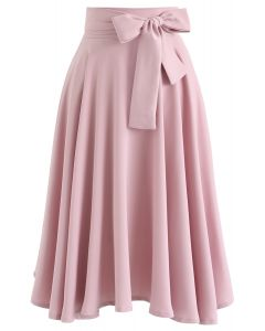 Flare Hem Bowknot Taille Midi Rock in Pink