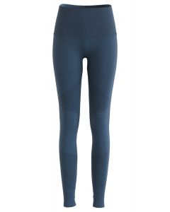 Hochhaus-Fitness-Yoga-Leggings in staubigem Blau