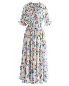 Voll blühendes Kleid mit Blumenrüschen in Elfenbein