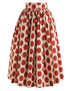 Vintage Red Polka Dot Midirock
